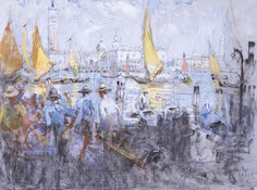Le Mayeur - Quay and sailingboats on the canal oposite San Marco, Venice, ca. 1919